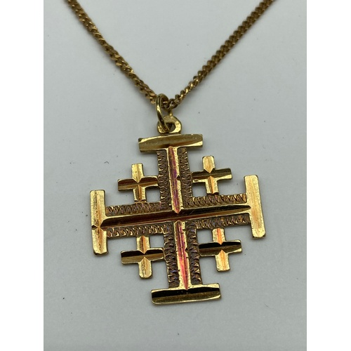 6J - An 18ct gold Jerusalem cross pendant together with a 9ct gold necklace. [Cross weighs 3.43 grams] [C...