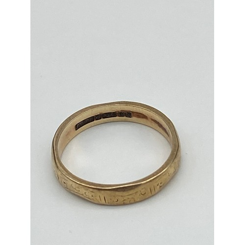 13J - Antique Birmingham 9ct gold band ring. [Weighs 2.20 grams] [Ring size K]...