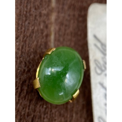 22J - Antique 9ct gold pendant set with a green jade stone, 9ct gold necklace, A Pair of 9ct gold and jade...
