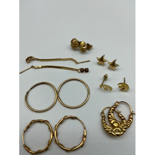 23J - A Lot of seven pairs of 9ct gold earrings. [Total weight 5.06 Grams]...