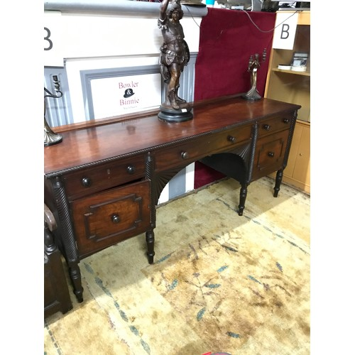 12 - A Large Antique Irish Cork Georgian Mahogany Sideboard, Has Plate rail to the back of the top panel,...