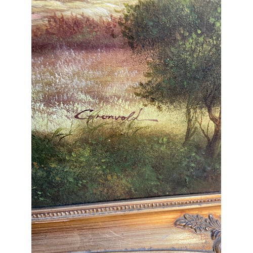 4 - An original oil painting on canvas by Gronvold. Depicts landscape scene detailing a large tree as th...
