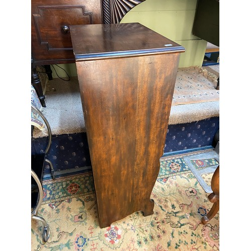 6 - An early 1910/20's music cabinet. Designed with 5 drop end drawers and fitted with Art Nouveau handl...