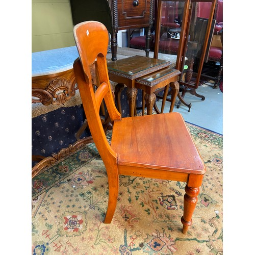 11 - A Victorian bar back chair. Supported on turned legs. Stamped [48] underneath....