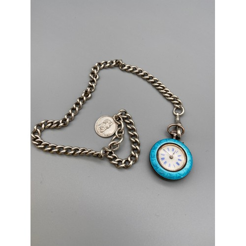 68J - A Gents antique silver Guilloche enamel and seed pearl fob watch together with a heavy silver Albert...