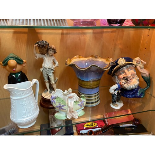 324B - A Lot of collectable items to include Royal Doulton toby jug, Denby vase & Austrian style spill vase...
