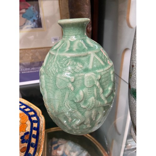 18 - Chinese Chenghua Nian Zhi brown etched marking vase. Designed with hand painted warrior figures and ...