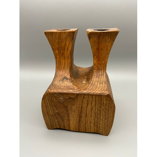 26 - A Lovely example of an apprentice piece. Made into a double candle holder with single trinket drawer...