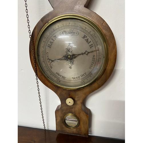 1D - A Georgian Mahogany wall barometer/ Thermometer. Has original Mercury still intact....