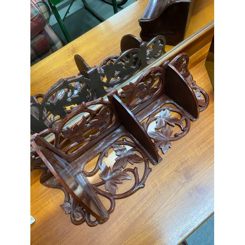487C - A Vintage hand carved Black Forest style wall shelf and Mahogany varnished storage box....