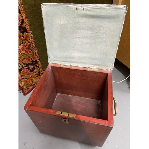 489C - A WW2 Military wooden storage box detailed with brass carry handles....
