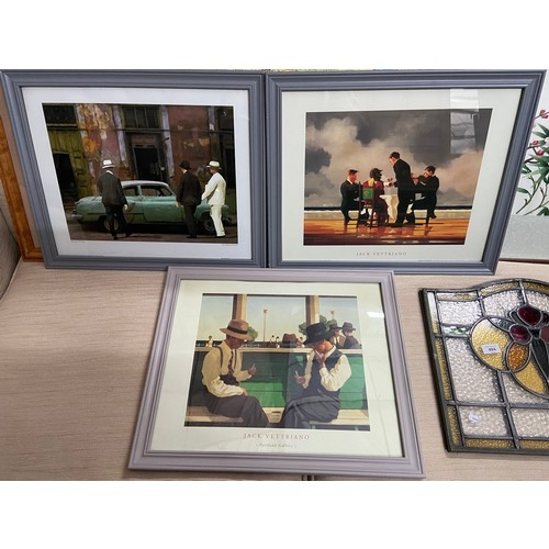 556D - Two vintage Jack Vettriano prints and George Thomas print....