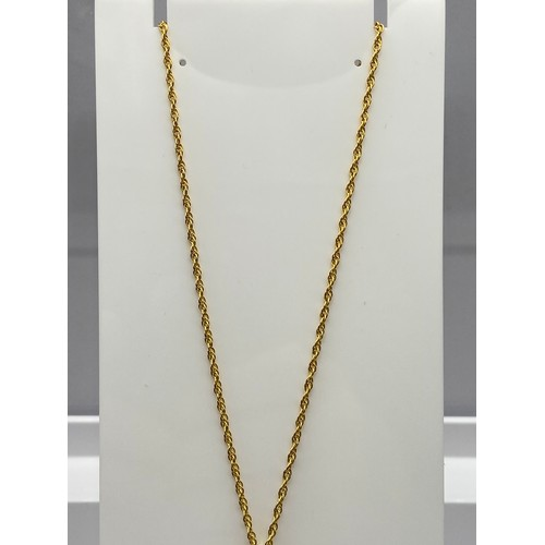 1 - A Ladies 9ct gold necklace together with a 9ct gold and Smokey Quartz stone pendant. [Chain 45cm len...