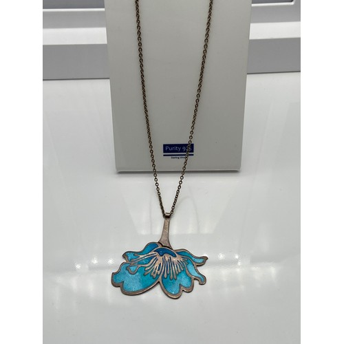 20 - Edinburgh silver and enamel flower pendant together with a silver chain. Produced by Alistair Norman...