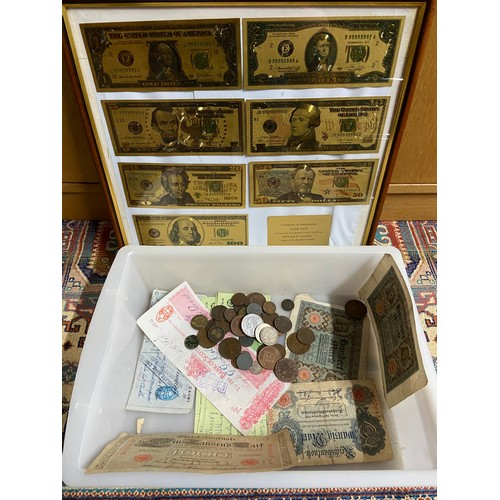 15A - A Framed 24ct gold plated bank note set, Various old bank notes and various world coins....