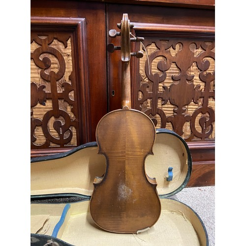 17A - Antique Violin, Bow and carry case. The Bow has 'Made in France' Impressed....
