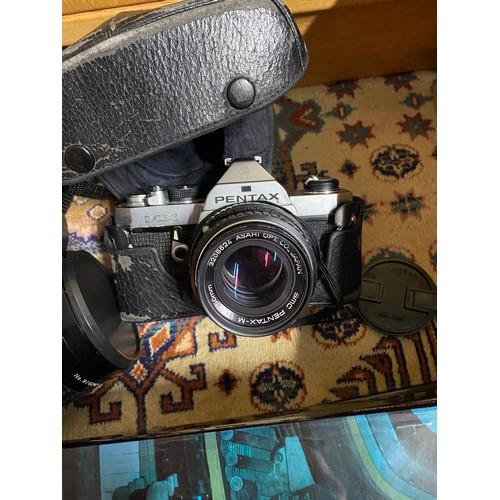 23A - Pentax MX Camera, Centon mirror lens, Various Minolta Mirror catalogues and Paterson 300 Projector.