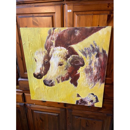 26A - Original mixed media canvas depicting Cows signed Yvonne Hutchinson. Titled 'Poor Cows' [61x61cm]...