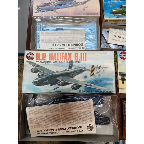27A - A Quantity of boxed military Airfix models and matchbox model kits. Includes Walrus MK-1, H.P Halifa...