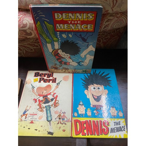 1 - Two 1960 and 1962 vintage Dennis the Menace annuals and 1961 Beryl the Peril annual....