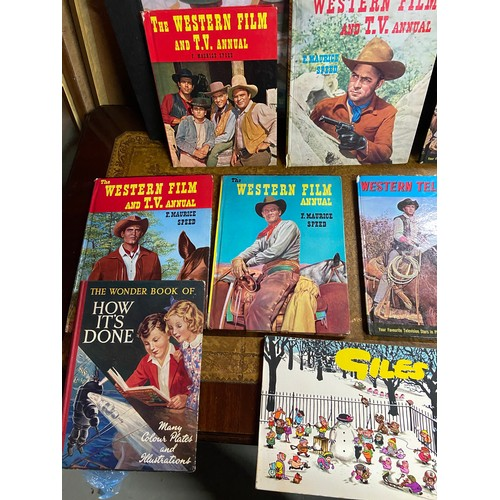 2 - A Collection of vintage annuals which includes Ideal Book for Boys, Giles, Farm Stories and various ...