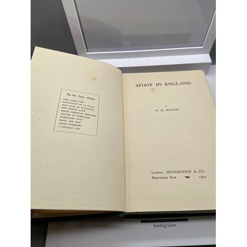7 - Afoot In England by W.H. Hudson 1st edition book. London: Hutchinson & Co. 1909....