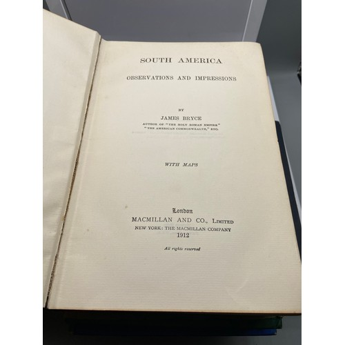16 - A Lot of five various books which include 1st editions. 'South America Observations and Impressions'...