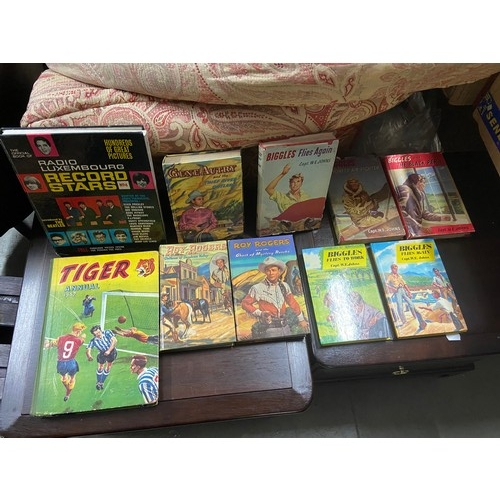 18 - A Selection of vintage Biggles books, Roy Rodgers books ,Radio Luxembourg Record Stars annual and Ti...