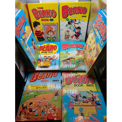 19 - A Lot of 8 vintage Beano annuals dated 1980, 82,83,85,86,87,88 & 89....