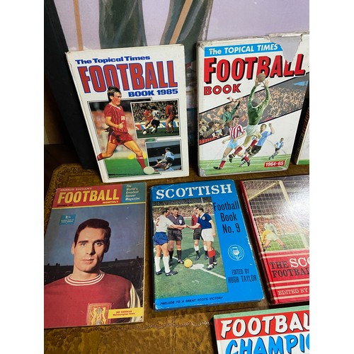 24 - 8 Various vintage Football annuals and books. Includes Football Book 1985, Tiger Roy of the Rovers, ...