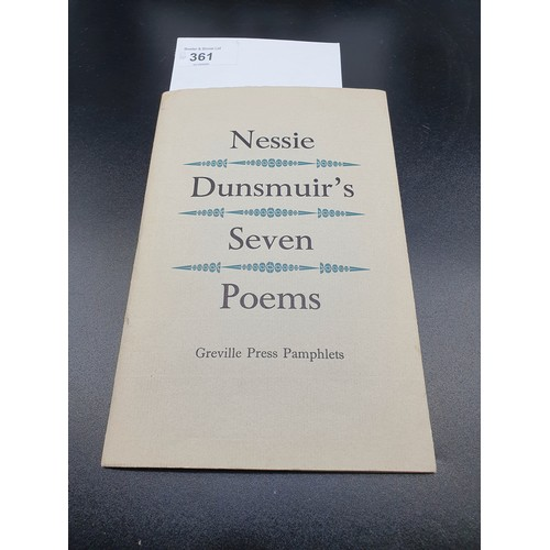 41 - Nessie Dunsmuir's seven poems by Greville Press Pamphlets , Dated 1985....