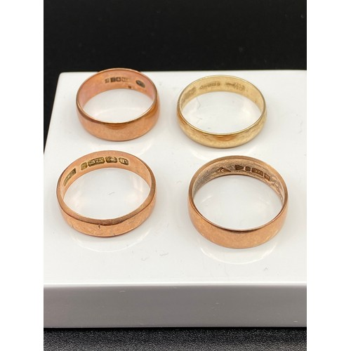 9J - A Lot of Four 9ct gold wedding bands.[Ring size L'Q'Q'Q] [11 Grams]...