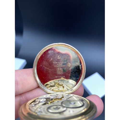 13J - A Vintage 1900's Lanco Swiss pocket watch, Showing a hand painted Erotic Automaton Face. Plated casi...