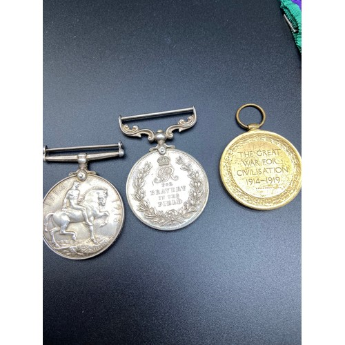 14J - WW1 Trio medal set belonging to 347462 SJT. J.D. Ramsay R.A. 'For bravery in the field'' War & Peace...