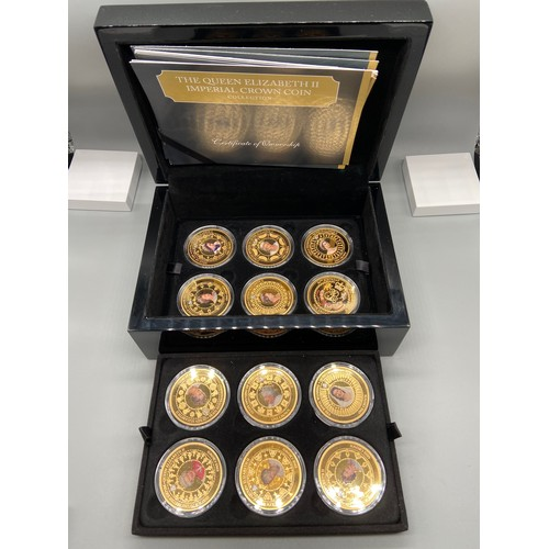 17J - The Queen Elizabeth II [12x] 24ct gold plated Imperial crown coin collection by The Bradford Exchang...