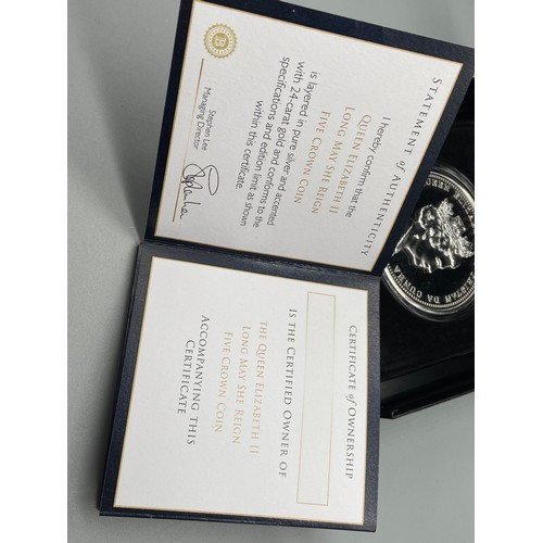 23J - The Bradford Exchange Mint coin 'The Queen Elizabeth II Long May She Reign' Five Crown Coin with box...