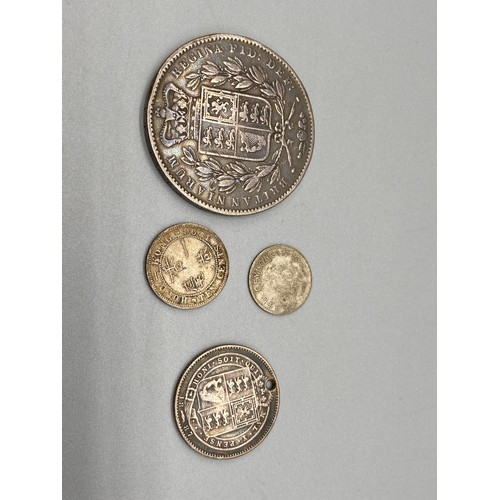 24J - A Lot of four various Queen Victoria Silver coins which includes Young Victoria Head 1847 Crown...
