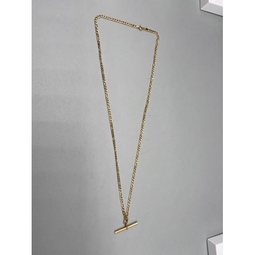 33 - A 9ct gold curb necklace designed with a 9ct gold t-bar. [44cm in length] [2.38grams]...