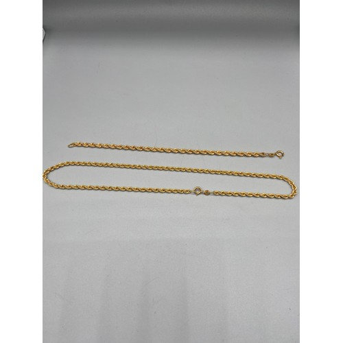 34 - A 9ct gold rope necklace [40cm in length] together with a 9ct gold rope bracelet [17cm in length] [6...
