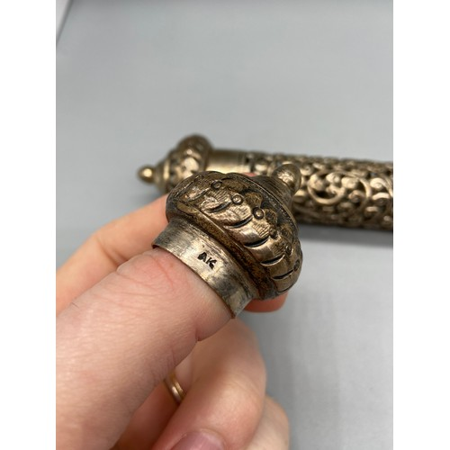 35 - Indian Silver scroll holder. [15cm in legnth] Stamped silver and maker mark....