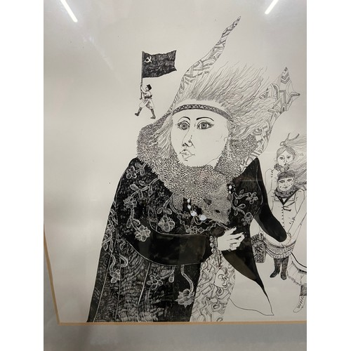 153 - Ann Ross R.S.W. (b.1945) A Large Original pen drawing with hand colouring. Depicts various lady and ...