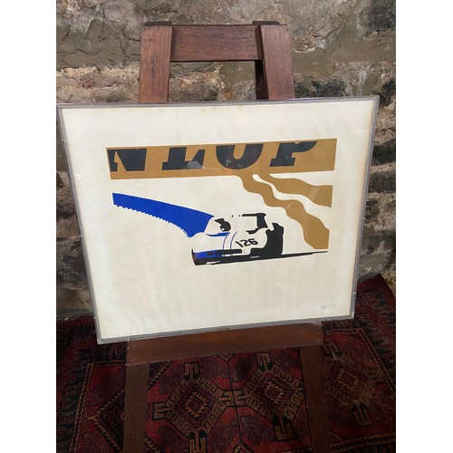 151 - A Rare pop art print of a Chevron B.M.W. racing car. Signed by the artist and dated 1969. Fitted wit...