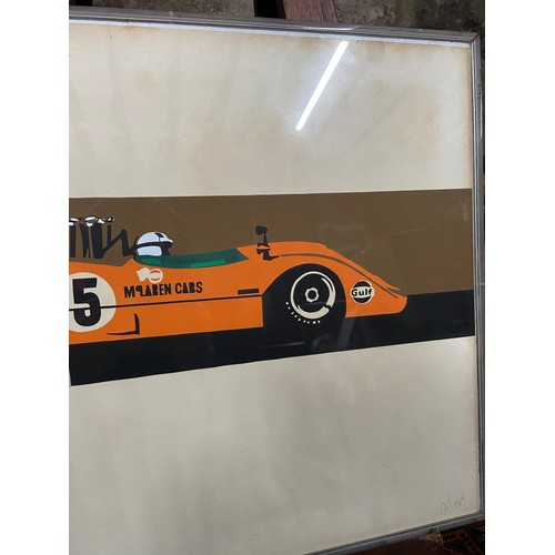 150 - A Rare pop art print of a Mclaren Cam-am racing car. Signed by the artist and dated 1969. Fitted wit...