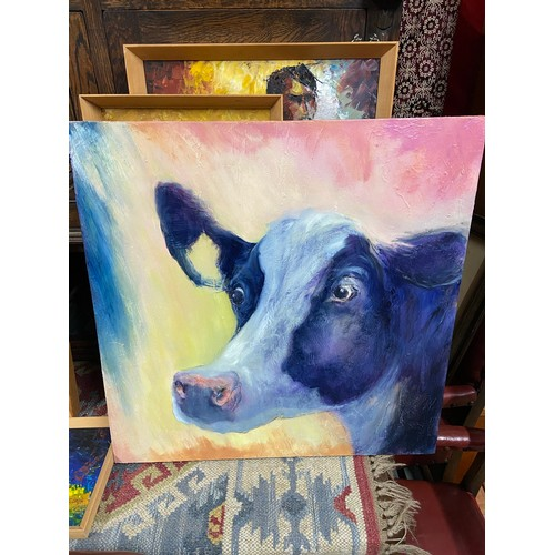 241 - A Large mixed media painting on canvas depicting a cow. Titled 'Fresian' by Yvonne Hutchinson. [61x6...