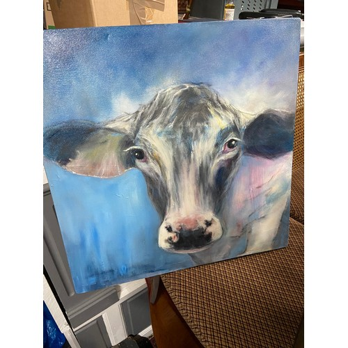 265 - An original mixed media painting by Yvonne Hutchinson depicting a cow portrait. Titled Constance and...