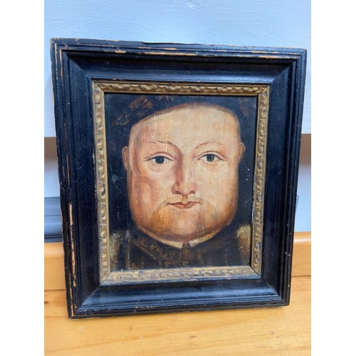 345 - A 15th/16th century oil painting on wood of King Henry 8th. Fitted within a wooden and gilt moulded ...