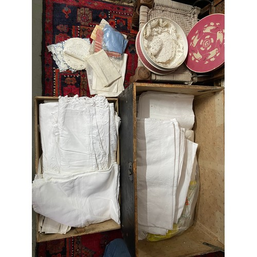 616 - A Large collection of antique linen and dollies
