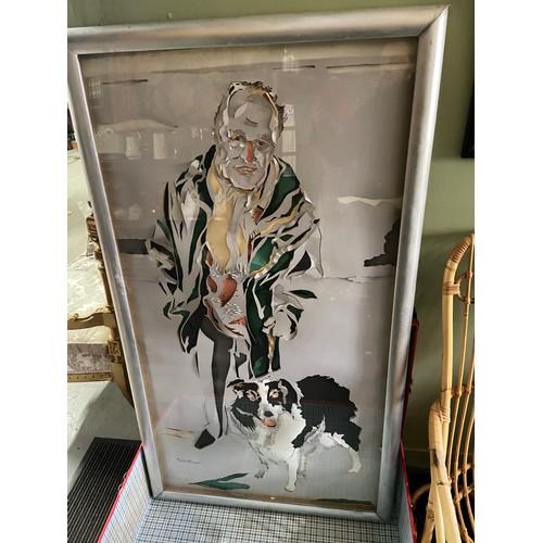 498 - EDITH SIMON (SCOTTISH 1917-2003) artwork titled 'Portrait of Ian Arnott with Rab' [156x88cm frame]...