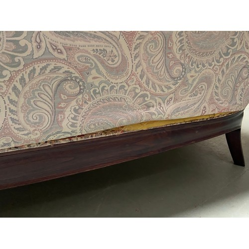 427 - An Antique style Indian Rosewood parlour sofa, Designed with various carved sections and carved claw...