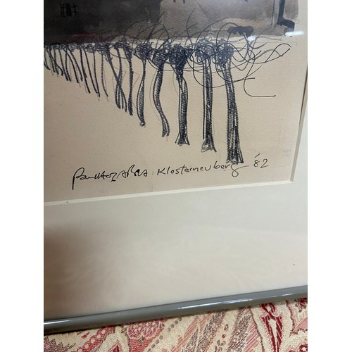 425 - Paul Hogarth Original Watercolour and pencil titled 'Klosterneuberg' and dated 1982. 49.5 x 58 cm (f...